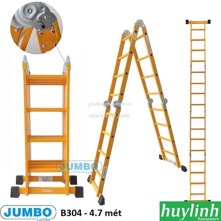 Thang nhôm gấp 4 đoạn Jumbo B304 - 4.7 mét