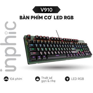 Bàn phím cơ Inphic V910 Bàn phím chơi game có dây chuyên nghiệp LED RGB Mix Backlit 104 phím - Chính Hãng thumbnail