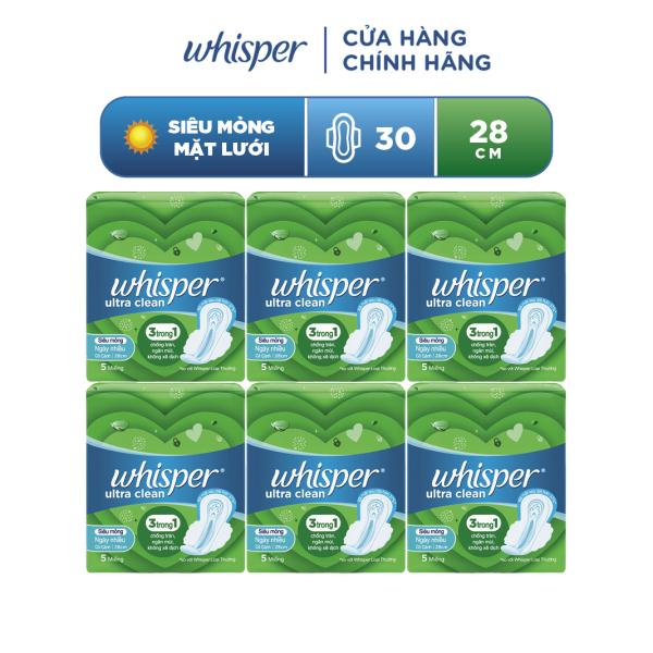 Băng vệ sinh Whisper Utra CLean Siêu Mỏng Cánh 28cm cho ngày nhiều và đêm cao cấp
