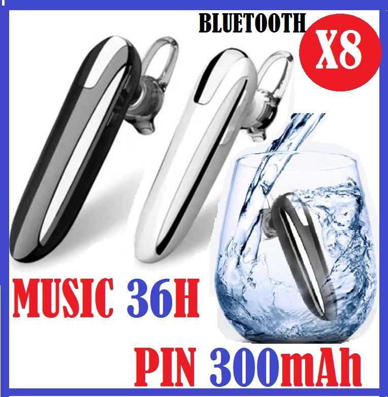 Tai nghe bluetooth chống nước 5.0  X8,kết nối 2 điện thoại,đàm thoại 48h, nghe nhạc 36h, pin 300mAh ( tặng kèm tai phụ), bảo hành đổi mới 1 đổi 1.