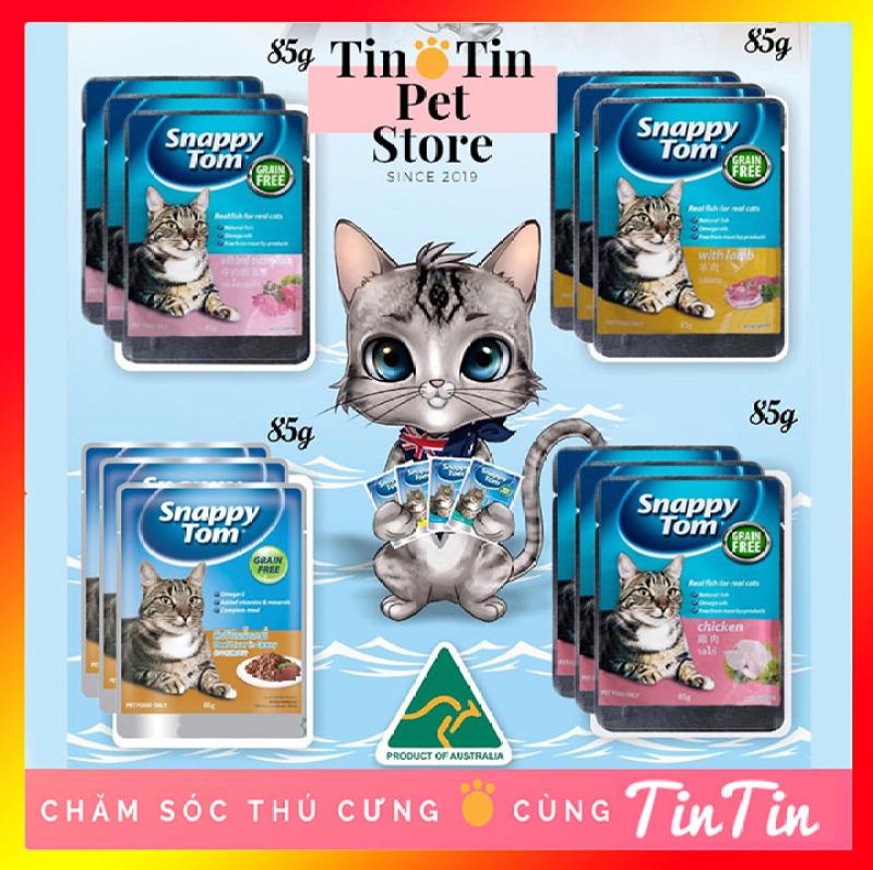 Combo 12 Gói Pate Snappy Tom Cho Mèo - Gói 85 Gram 4 Mùi Vị