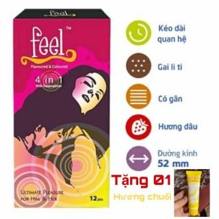 Combo Bao Cao Su Feel 4In1 + Gel Hot Kiss 30ml thumbnail