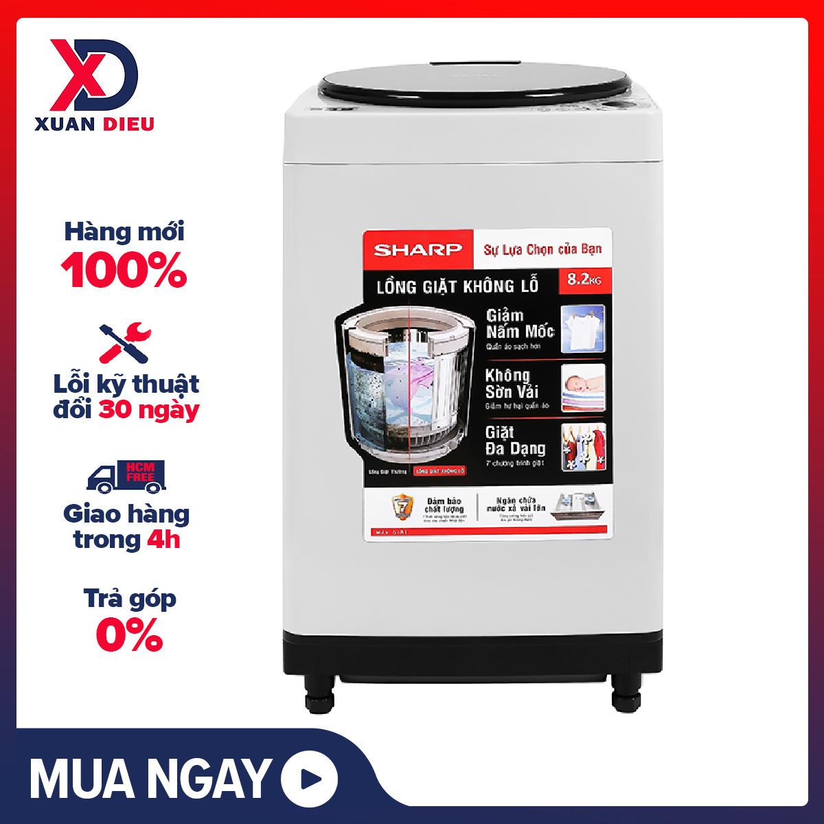 Máy giặt Sharp 8.2 kg ES-W82GV-H - Loại máy giặt:Cửa trên - Lồng giặt:Lồng đứng - Tốc độ vắt:730 vòng/phút