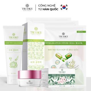Bộ sản phẩm làm mờ nám da mặt Truesky V05 gồm 1 kem nám da 15g và 1 sữa rửa mặt nha đam 60ml + 3 miếng mặt nạ dưỡng da Truesky thumbnail