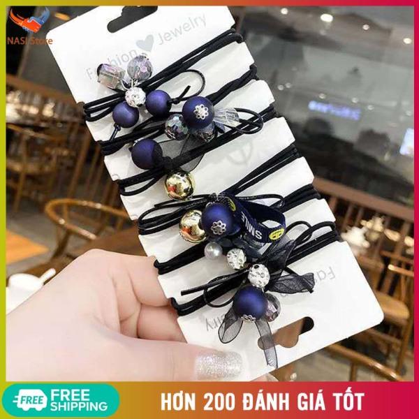 Set 6 Dây Buộc Tóc Ocean Blue Siêu Đẹp (Hàng nhập khẩu) – Phong cách Hàn Quốc, sang trọng, dễ thương, chất liệu dây buộc cao cấp, co giãn tốt, không kén tóc - Dây cột tóc, cột tóc nữ, chun buộc tóc, thun buộc tóc - NASI Store