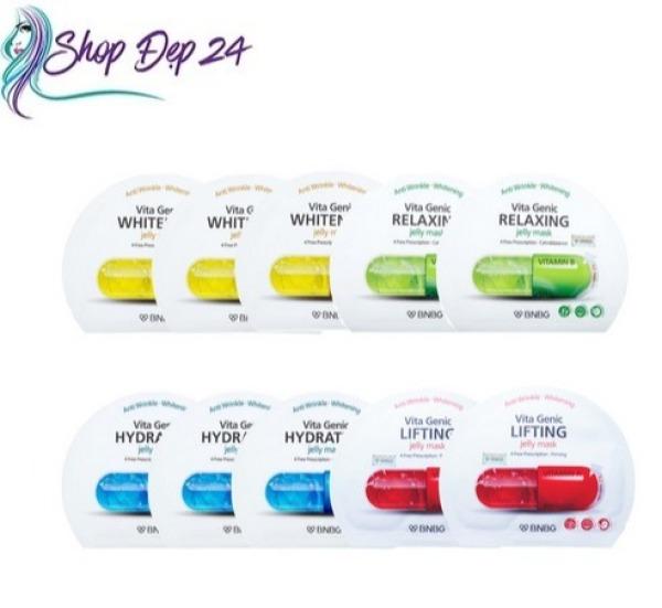 Combo 10 gói Mix 4 loại Mặt nạ giấy BNBG Vita Genic Jelly Mask 30ml x10 (Lifting, Whitening, Relaxing, Hydrating)