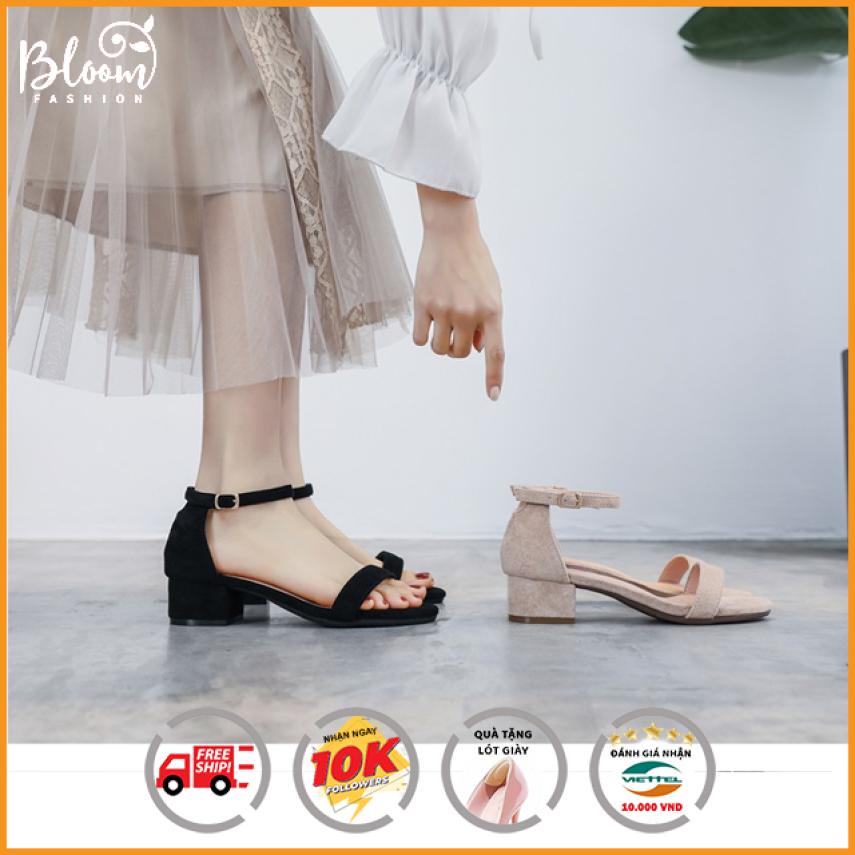 (CÓ VIDEO + QUÀ TẶNG) Hàng VNXK Tập Đoàn HNC | Giày cao gót sandal nữ 5p đế vuông quai ngang kiểu dáng basic đẹp thời trang | Giày cao gót Bloom giá rẻ