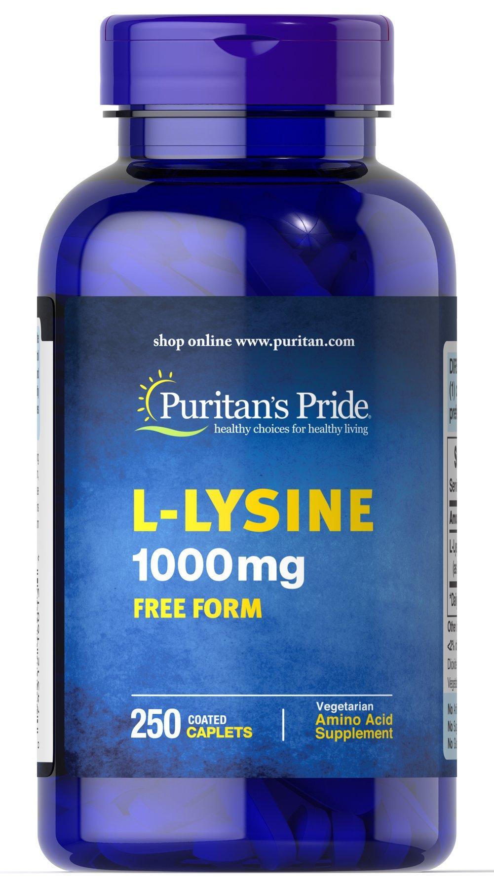 Viên uống kích thích ăn ngon miệng, tăng cường cơ bắp Puritans Pride L-Lysine 1000mg 250 viên HSD: 12/2020