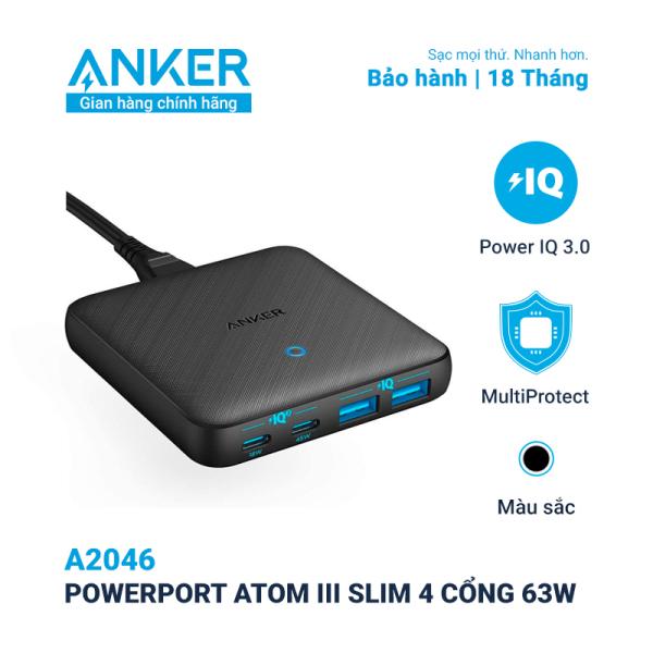 Sạc Anker 4 cổng, công suất 63w, PowerPort Atom III Slim - A2046