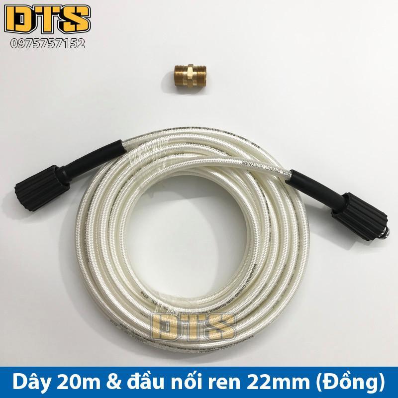 Bộ 20m dây rửa xe nối dài thêm cho máy xịt rửa áp lực - Đầu nối đồng