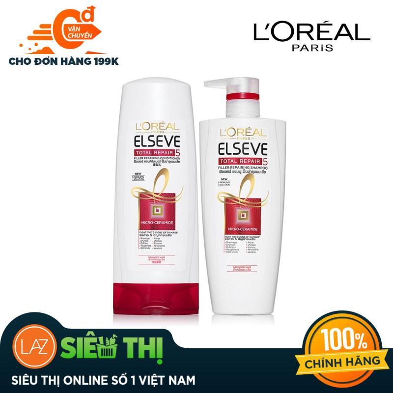 [Siêu thị Lazada] - Bộ dầu gội 650ml và dầu xả 165ml phục hổi tóc hư tổn L'Oreal Paris Elseve Total Repair giá rẻ