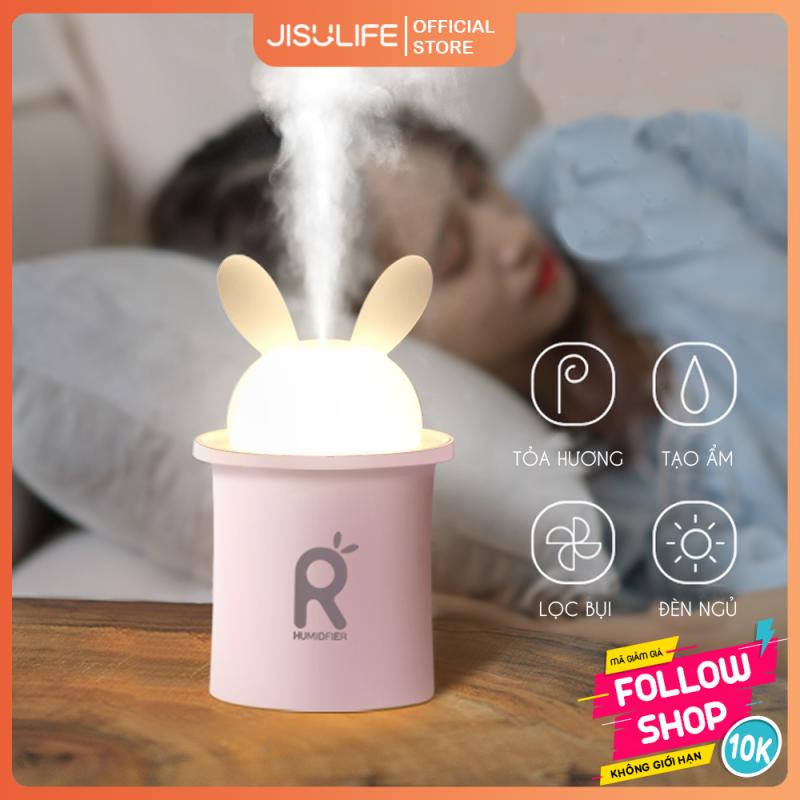 Máy phun sương tạo ẩm và toả hương tinh dầu giảm stress 250ml hình thỏ đáng yêu kiêm đèn ngủ LED để bàn tiện lợi Jisulife JT03 (Bảo hành 12 tháng)
