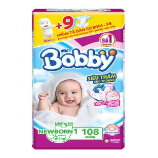 [TẶNG KÈM 9 TẢ DÁN XS] Miếng lót Bobby Newborn 1 - gói 108 miếng - Đặc biệt tặng kèm 09 tả dán Bobby size XS thumbnail