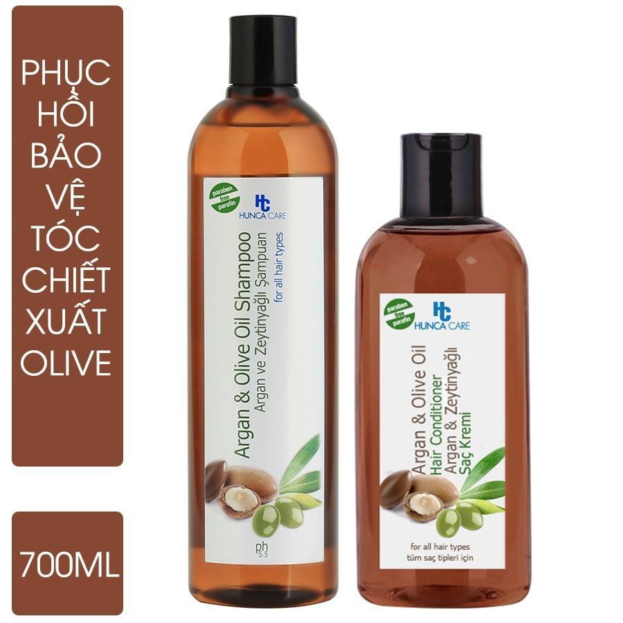 Combo Dầu Gội Phục Hồi Và Bảo Vệ Tóc Chiết Xuất Olive Và Argan Oil Hunca  Care (700ml) + Dầu Xả Phục Hồi Và Bảo Vệ Tóc Chiết Xuất Olive Và Argan (