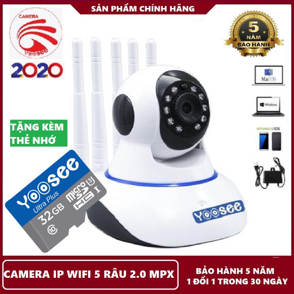 Bảo hành 5 năm-Tặng kèm thẻ nhớ 32GB,Camera ip wifi 5 râu yoosee,camera yoosee 2.0 mpx,camera báo động,lưu trữ video,đàm thoại song phương tại shop KIM LONG STORE
