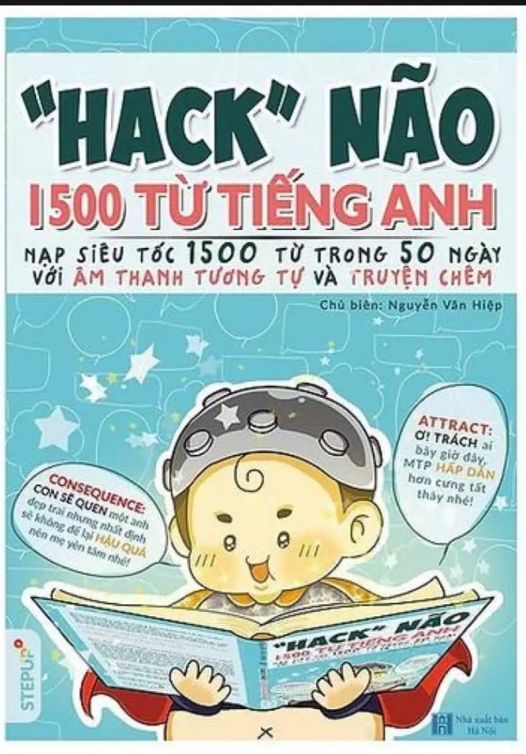 Mua ( Tặng kèm File PDF Màu và audio nghe ) -SÁCH - Hack Não 1500 Từ Tiếng Anh 2018 _ Bìa Màu, Bản In Đen Trắng