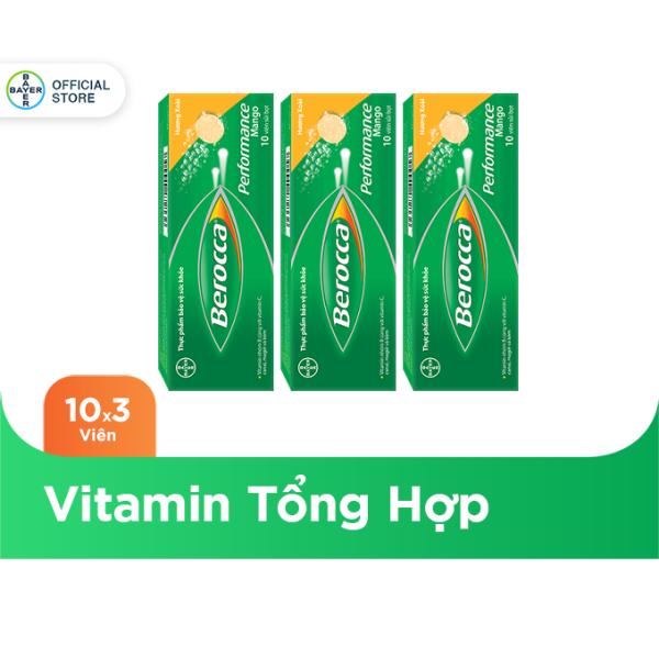 Bộ 3 hộp viên sủi bổ sung Vitamin Berocca Performance Mango 10 Viên/hộp nhập khẩu