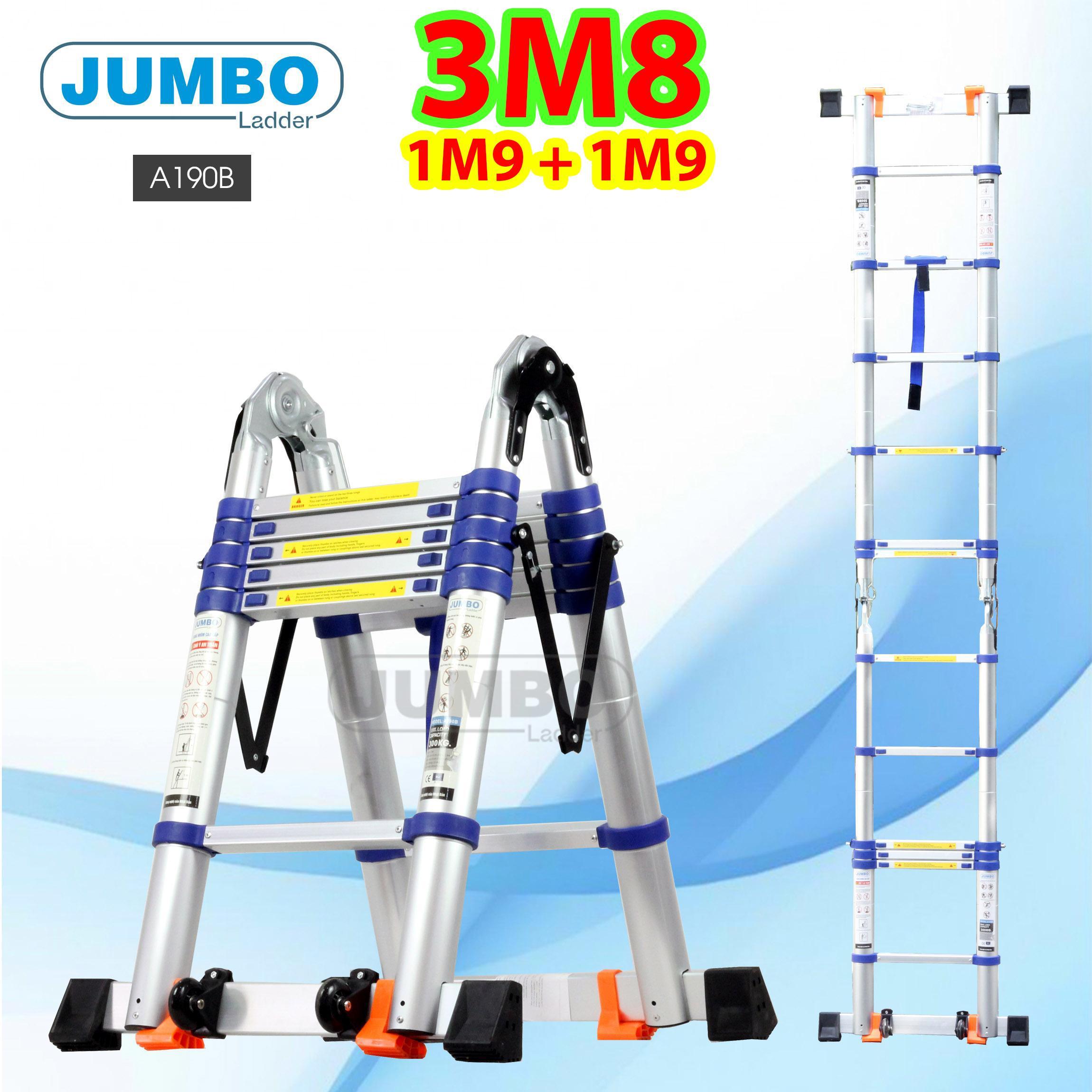 Thang nhôm rút chữ A 3m8 (1m9 + 1m9) Jumbo A190B