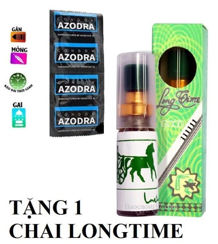 Combo 1 chiếc Bao cao su tổng hợp Gân gai kéo dài thời gian AZODRA tặng 1 chai xịt chống xuát tinh sớm LONGTIME 5ml