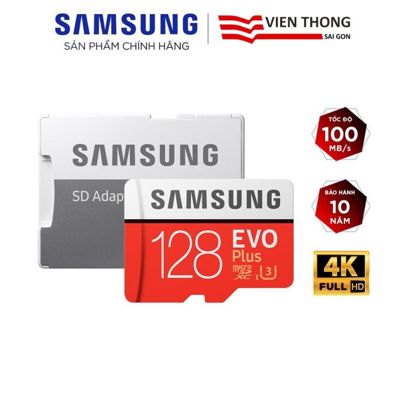 Thẻ nhớ microSDXC Samsung Evo Plus 128GB upto 100MB/s C10 U3 kèm Adapter (Bảo hành 10 năm) - Hãng phân phối chính thức