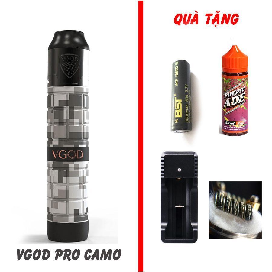 Combo Vape Mech Vgod kit 2 Camo kèm pin sạc và dầu 30ml