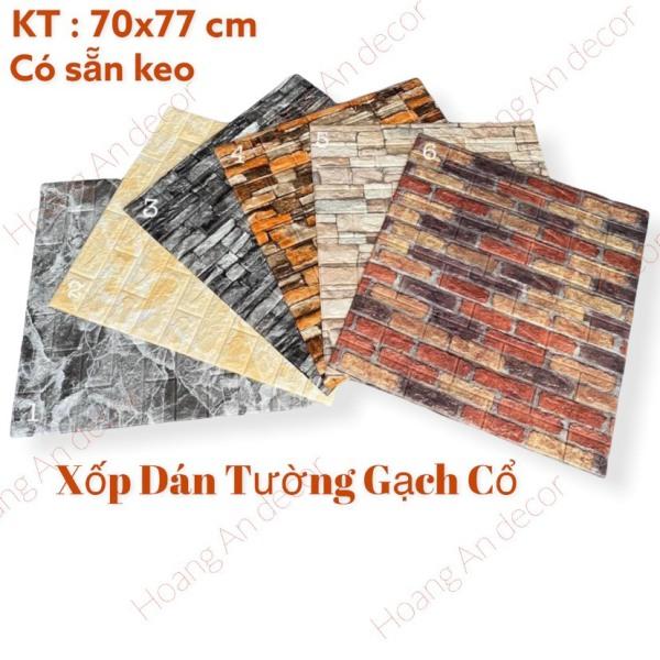Xốp Dán Tường Giả Gạch Cổ, Kích Thước 70x77 Cm