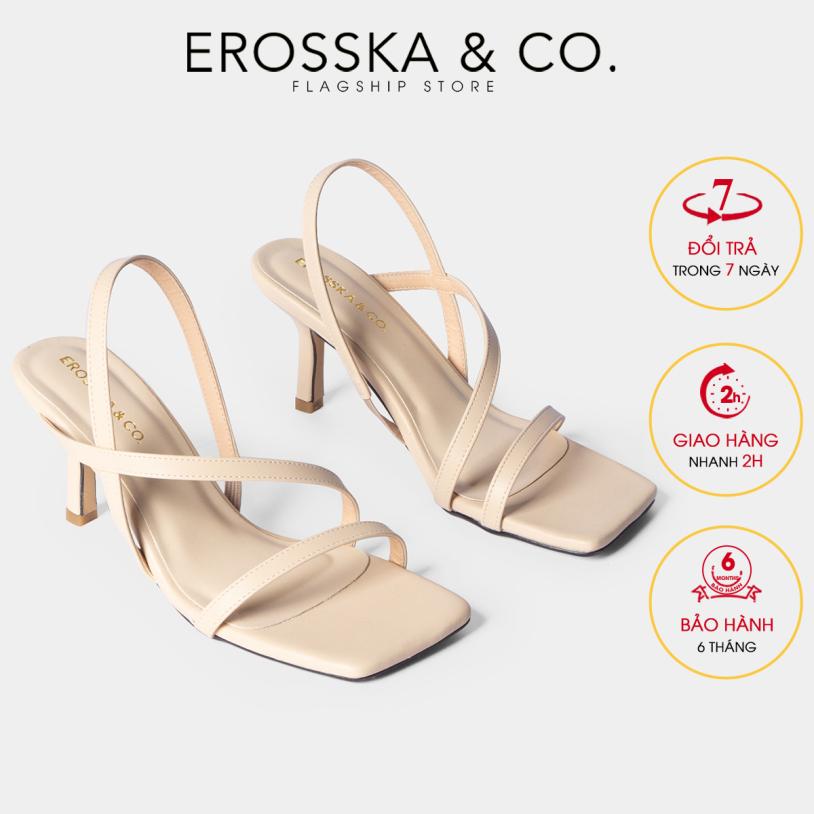 Giày sandal cao gót quai mảnh Erosska thời trang mũi vuông quai ngang phối dây tinh tế cao 7cm EB022 (NU) giá rẻ