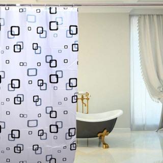 Rèm phòng tắm 1.8m có kèm móc vuông xanh đen thumbnail
