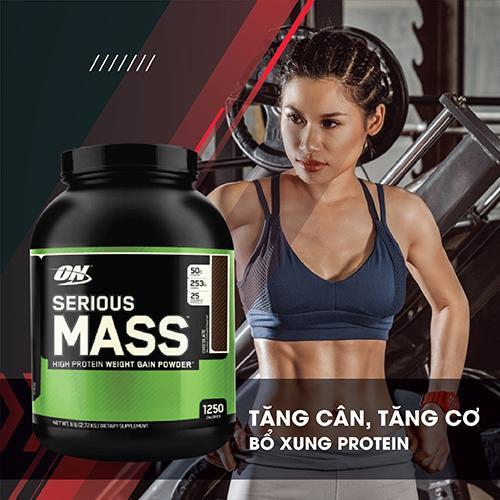ON SERIOUS MASS 6LBS  - 2,72 KG - Tăng cơ, tăng cân cho Thể thao, Gym, Yoga, Fitness + Khăn tập sợi tự nhiên cao cấp