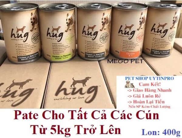 THỨC ĂN HỖN HỢP HOÀN CHỈNH CHO CHÓ Dạng Pate Hug enriching ur love Lon 400g Xuất xứ Thái Lan