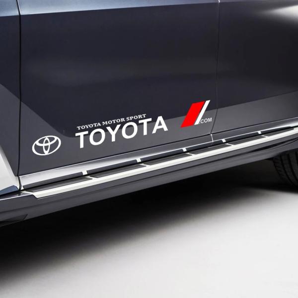 Bộ 2 Tem dán cửa xe ô tô Toyota (trắng)