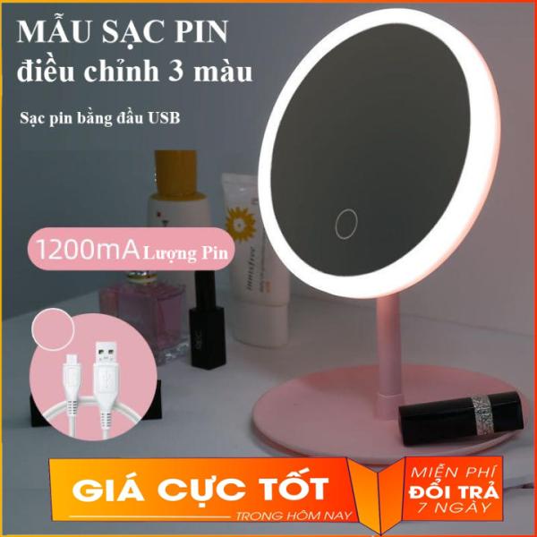 Gương Trang Điểm Tròn Để Bàn Có Đèn Led Cảm Ứng 3 Chế Độ Ánh Sáng Sạc Điện USB - Gương Thông Minh Có Đèn Cảm Ứng Siêu Lung Linh (Màu Ngẫu Nhiên) giá rẻ