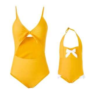 PatPat Famili Đồ Bơi Màu Vàng Trơn Phù Hợp, Cho Mẹ Hoặc Con Gái