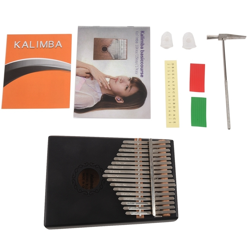 17 Key Black Single Board Mahogany Thumb Piano Mini Keyboard Instrument with Complete Accessories