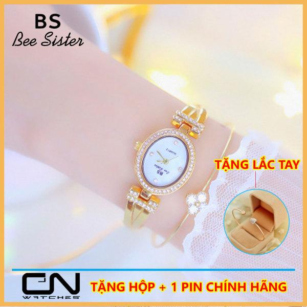 Đồng hồ nữ đẹp Bs Bee sister 1421 chính hãng, chống nước, dây kim loại kiểu lắc tay đính đá cao cấp cực đẹp, mặt oval nhỏ xinh, phong cách Hàn Quốc mới
