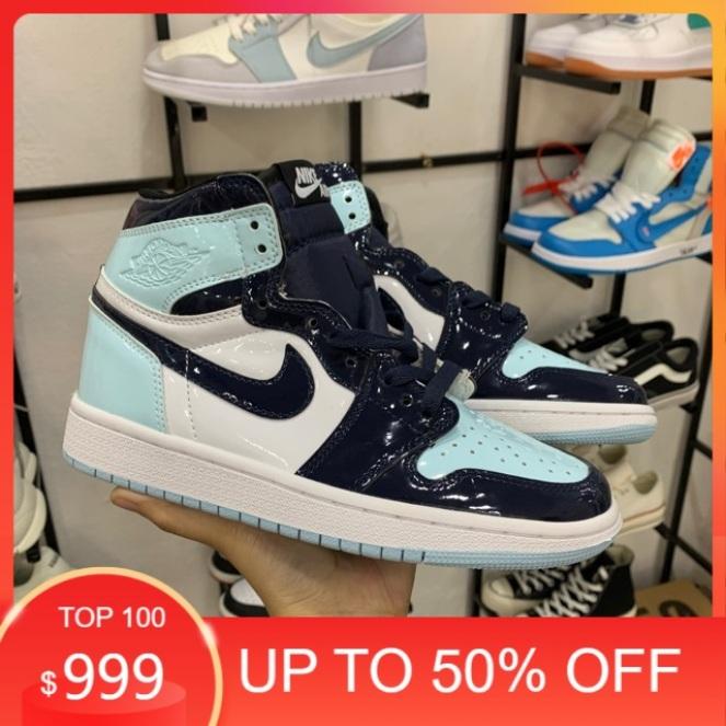 (fullbox+bill) Giầy Jordan 1 xanh ngọc cao cổ da bóng hàng cao cấp giá rẻ