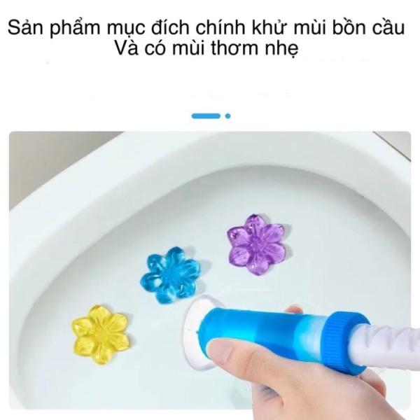 Gel thơm khử trùng bồn cầu gel khử mùi bồn cầu dạng thạch hình bông hoa với 6 mùi thơm cho nhà vệ sinh