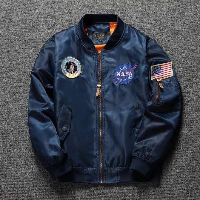 NASA Nghề Thêu Huy Hiệu Hoa Kỳ Không Quân Phi Công Áo Jacket Nam Giới Và Phụ Nữ Quần Áo Lao Động Loại Mỏng Mùa Xuân Và Mùa Thu, Áo Khoác Kích Thước Áo Bóng Chày