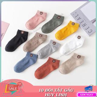 COMBO 10 đôi tất gấu cổ ngắn nhiều màu sắc tặng kèm túi đựng dây rút xinh xắn, phụ kiện giầy, dép, tất cotton chống hôi chân cao cấp, Huy Linh thumbnail