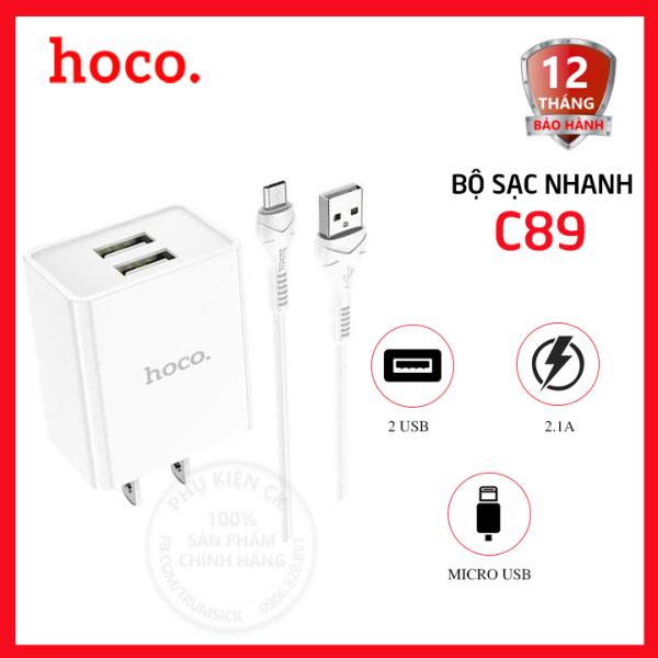 Bộ sạc nhanh Hoco C89 2 cổng USB 2.1A kèm cáp Micro Usb