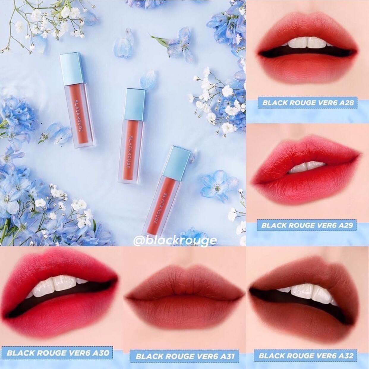 Son Kem Lì Black Rouge Air Fit Velvet Tint Ver 5: BAM + Ver 6 Blueming Garden bền màu độ bám cao không gây hiện tượng khô môi
