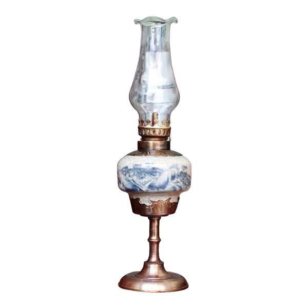 Đèn thờ dầu men rạn vẽ phong cảnh dáng trụ chân đồng gốm sứ Bát Tràng (đèn dầu, đèn thờ cúng)