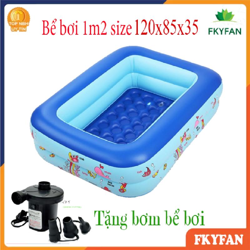 [TẶNG BƠM ĐIỆN] Bể bơi phao 2 tầng hình chữ nhật Size 120x85x35 cho bé - Hồ bơi cho trẻ 1,2m + Keo miếng vá bể - BBM2
