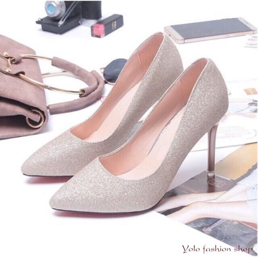 GC78 Kèm hình thật Giày cao gót nữ gót nhọn 7p ánh kim sang chảnh giá rẻ