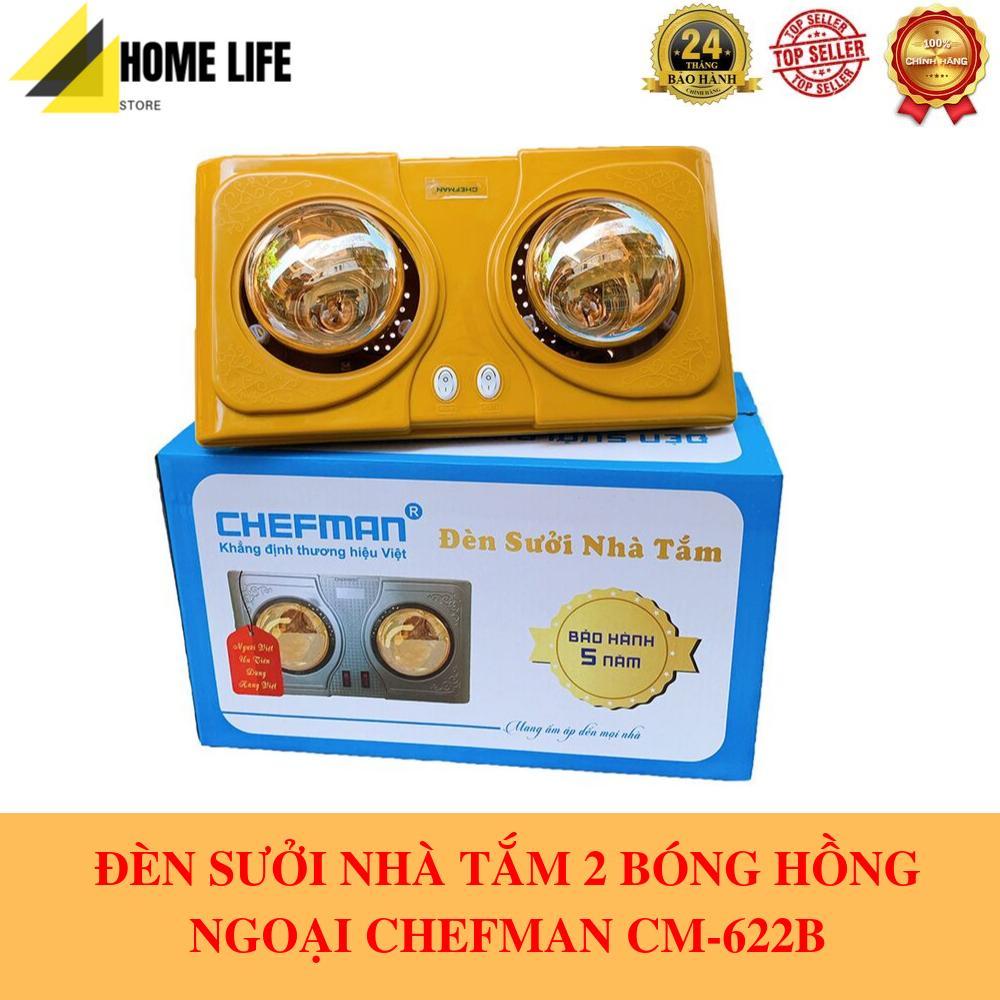 Đèn Sưởi Nhà Tắm 2 Bóng Hồng Ngoại CHEFMAN CM-622B 550W Cao Cấp - BẢO HÀNH 5 NĂM