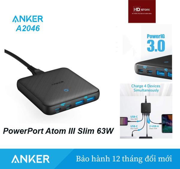 Sạc ANKER PowerPort Atom III Slim 65W PIQ3.0 PPS 4 Cổng - Mã A2046