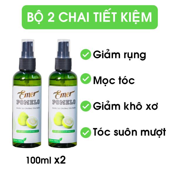 Bộ 2 Xịt dưỡng tóc tinh dầu bưởi POMELO Emer giảm rụng, kích mọc tóc, giúp tóc chắc khỏe và suôn mượt sau khoảng 4 tuần 100ml x 2 giá rẻ