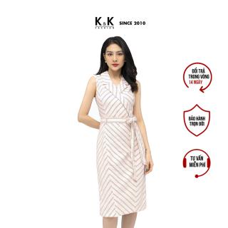 Đầm Công Sở Nữ Dáng Chữ A K&K Fashion KK105-15 Kẻ Phối Dây Nơ Eo Cổ Đan Tông thumbnail