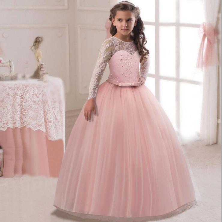 Giá bán Phiên Bản Giới Hạn Âu-mỹ Cô Gái Dài Tay Ren Lễ Phục Váy Liền, Học Sinh Tiểu Học, Học Sinh Tiểu Học Nơ Bướm Dáng Dài Váy Công Chúa