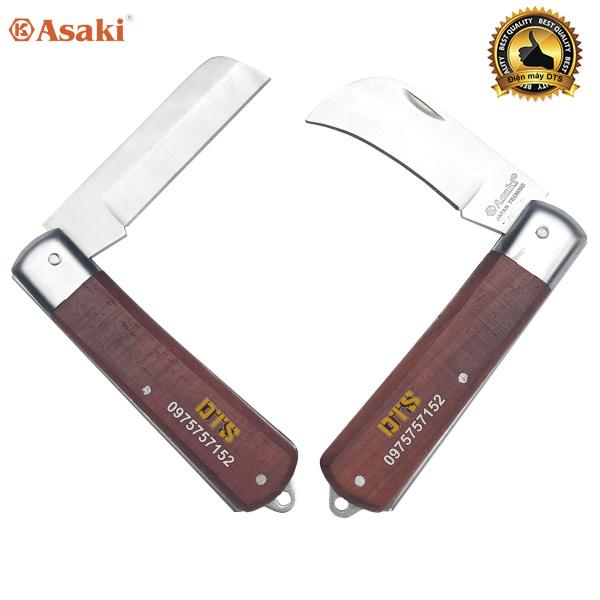 Bộ 2 dao tuốt dây điện lưỡi thẳng, lưỡi cong Asaki, dao rọc cáp, gọt vỏ dây điện, thép không gỉ, cán dao ốp gỗ đỏ